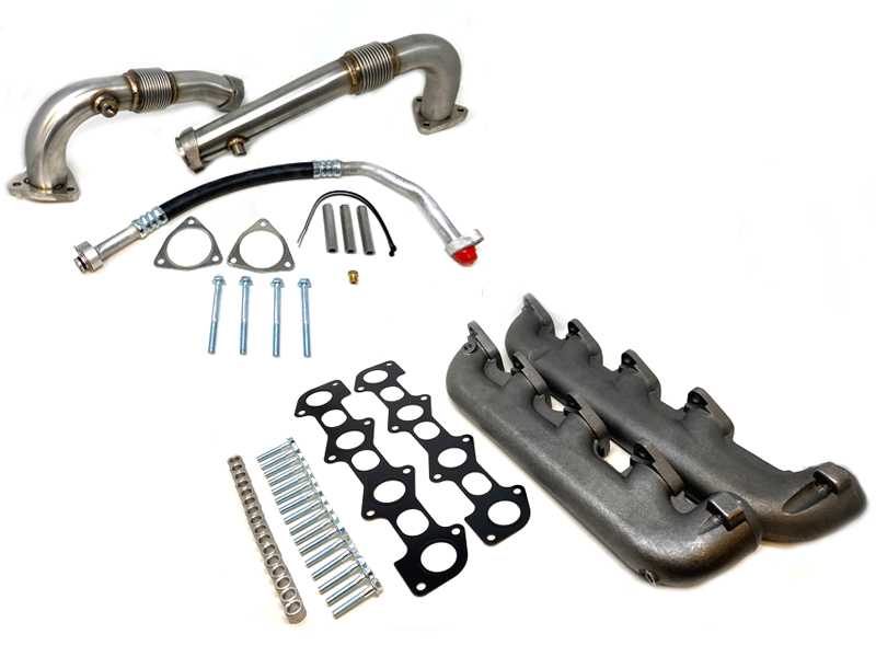 zz diesel high flow up pipe and exhaust manifold kit 2008 2010 ford 6 4l powerstroke